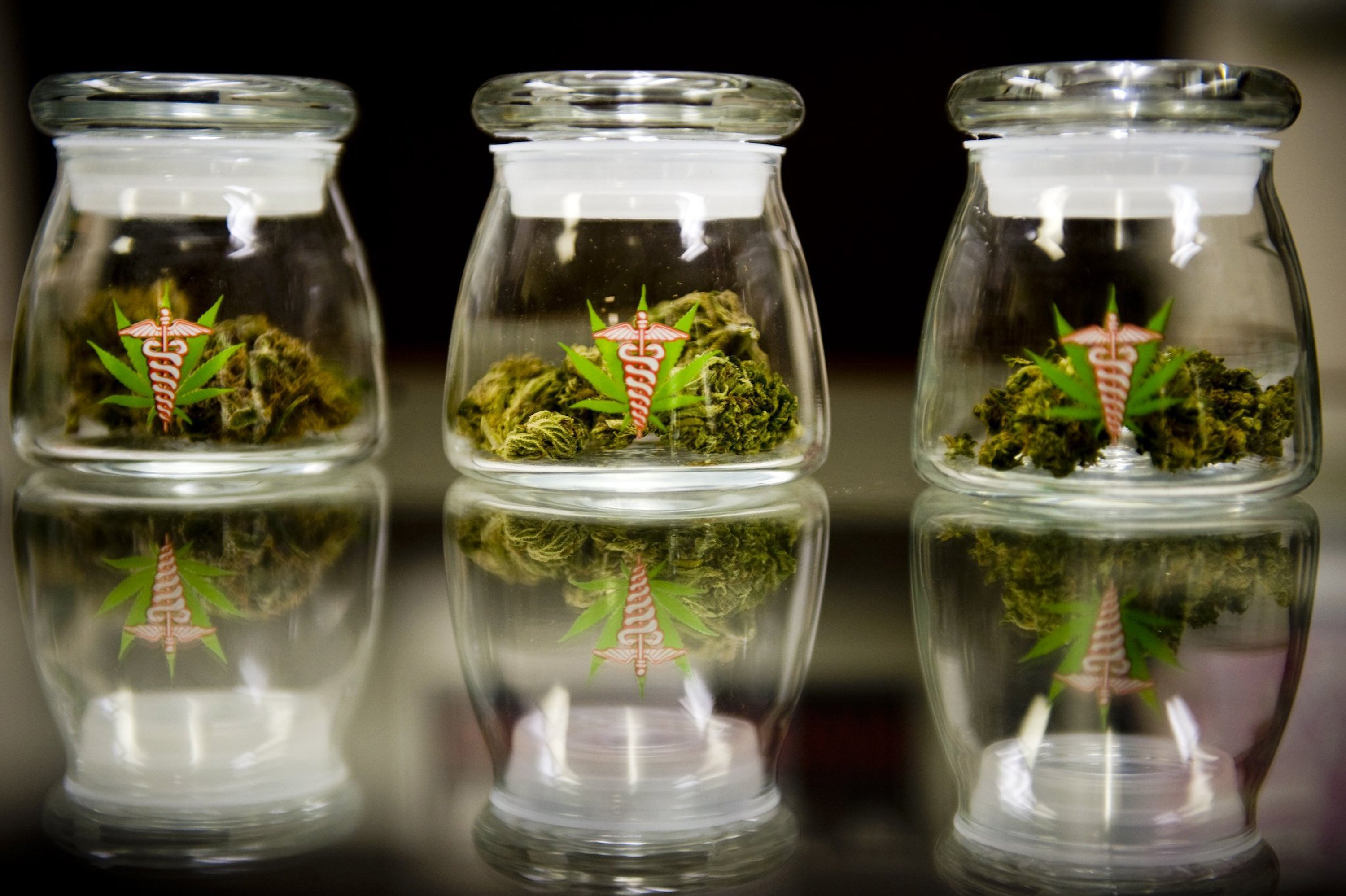 Samples of medical marijuana are displayed at Canna Care in Sacramento, Calif. The evangelical medical marijuna supplier is in a public battle with the IRS over a nearly $900,000 tax penalty. The dispensary is shown in August 2009. (Paul Kitagaki Jr./Sacramento Bee/MCT)